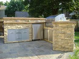 Do It Yourself Outdoor Kitchen Outdoor Fieldstone Kitchen Featuring Raised Stone Bar Counter