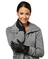 women s italian cashmere lined gloves with laser cut rabbit fur cuff