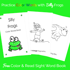 Kids will love using the color key to guide them in coloring. Frog Theme Color Words Book Free Printable