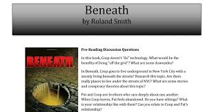 Discussion Guide: Beneath by Roland Smith | Discussion guide, Reading  discussion questions, Roland smith