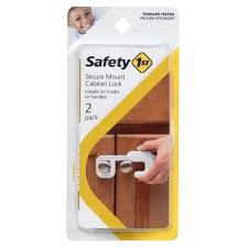Secure Mount Home Safety Cabinet Lock 2pk White
