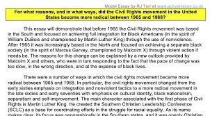 model essay for what reasons and what results did the   did the civil rights movement become more radical after 1964 a sample essay written by me which i share students for discussion purposes after