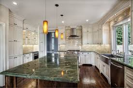Granite Counter Topped Large Island With Custom Finished Cabinets