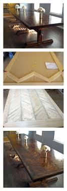 reclaimed wood kitchen island cleverlyinspired ana white pedestal herringbone table top diy projects