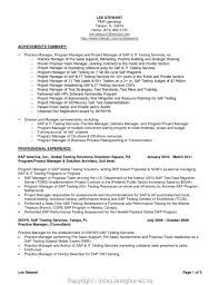 Sap Project Manager Resume Resume Work Template