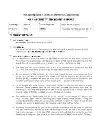 Sample Incident Reports Report Form Free Download Example Letter