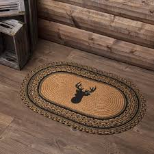 details about new rustic hunting cabin lodge deer antler braided jute rug mat area 20 x 30