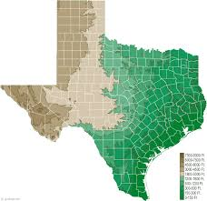 Elevation Chart Us Texas Physical Map And Texas Topographic Map