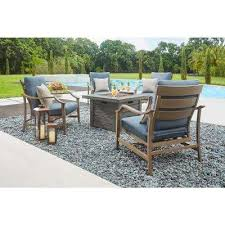 bridewell 5 piece aluminum patio fire pit conversation set with sunbrella action denim cushions