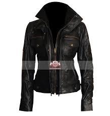 slim fit double collar las black leather jacket