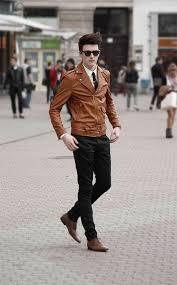 men s leather biker jacket white dress shirt black chinos brown leather oxford shoes men s fashion lookastic com