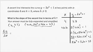 example simplifying slope of secant line