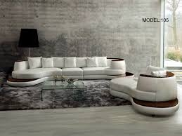 Modern Italian Living Room Furniture Divani Casa Rodus Rounded Corner Leather Sectional Sofa With