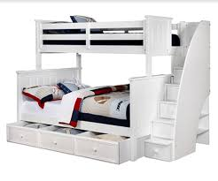 white bunk bed with stairs. Twin/Full Jordan Bunk Bed In White With Staircase And Waterford Trundle  Storage White Bunk Bed Stairs