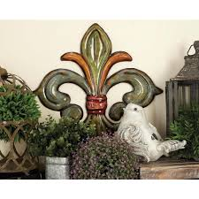 litton lane metal fleur de lis wall decor in green gold and red set