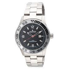 croton men s diver s sports quartz watches croton men s diver s sports quartz watch silvertone black dial and silvertone bezel