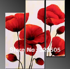3 panel red poppy fl canvas wall art abstract modern acrylic wall hand painted oil painting set for living room decoration in painting calligraphy