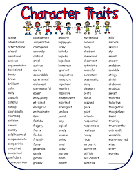 Character Traits List For 3rd Grade Google Search