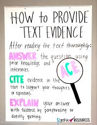 How To Provide Text Evidence Anchor Chart Rockin Resources