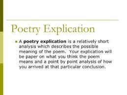 Explication Essays On Poems