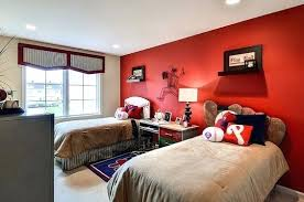 red accent wall bedroom baseball themed kids bedroom with a striking red  accent wall beds red