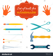 stock vector set of colorful icon of tools for handmade or do it yourself hands brush pencil needle and