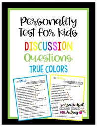 A color test is a very accurate personality tool. Personality Test For Kids Discussion Questions What Color Are You