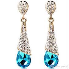 2018 fashion korean blue red crystal rhinestone waterdrop heart bridal stud dangle chandelier earrings for wedding engagement from jane012