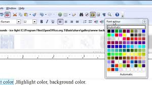 Openoffice Org Writer Tutorial Text Color Highlight Color