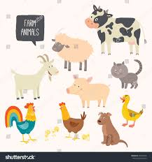 cute farm animals drawings.  Farm Set Of Cute Farm Animals Vector Hand Drawn Eps 10 Clip Art Illustration  Isolated On Throughout Cute Farm Animals Drawings U