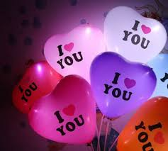 i love you love shape led balloon