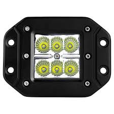 3 square 18 watt led mini auxiliary work light flush mount front view
