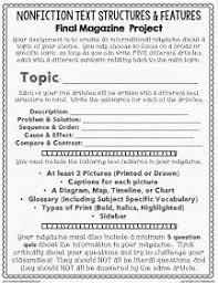 Nonfiction Text Structures Features Cumulative Assignment