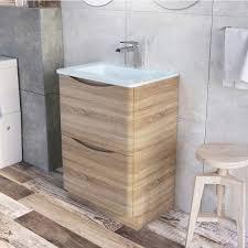 Light Oak Bathroom Furniture Erin Floor Standing 600 Vanity Unit Light Oak White Glass Basin
