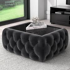 dark grey velvet storage coffee table