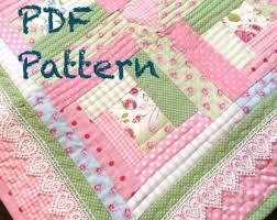 Baby quilt pattern | Etsy & Log Cabin Baby Quilt Pattern - Modern Baby Girl Quilt Pattern, Cottage Chic Baby  Quilt Adamdwight.com