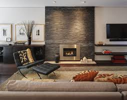 trendy living room photo in other with a metal fireplace