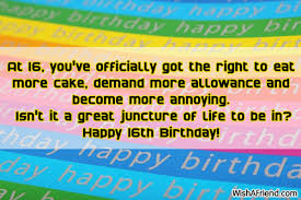 16th Birthday Wishes via Relatably.com