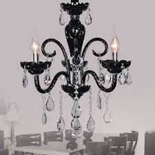 narius 3 light crystal chandelier in black finish