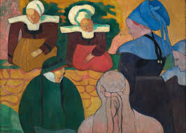 Breton Women At A Wall by Emile Bernard - Artvee