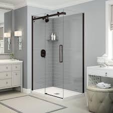 utile by maax 32 in x 48 in x 83 5 in direct to stud corner shower kit in metro ash grey with dark bronze door 106329 000 001 100 the