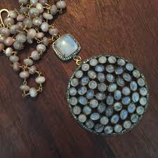 multi moonstone pendant with white topaz pave and moonstone and pave connector on peach moonstone rosary chain