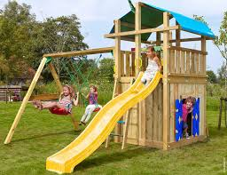 kids outdoor climbing frames fort playhouse 2 swing yellow
