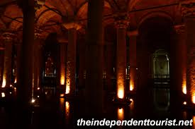 a view in the cisterns the lighting is quite dark giving the place an