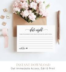 Printable Date Night Idea Card Diy Wedding Advice Template Bridal