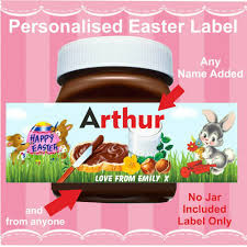 details about personalised easter label stickers for chocolate spread fits nutella jar gift