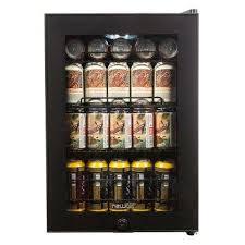 90 can black freestanding beverage cooler