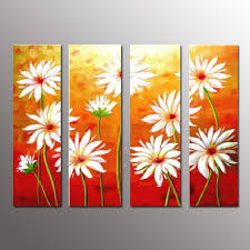 4 panel pictures set handpainted acrylic fl paintings abstract daisy flower oil painting handmade modern home