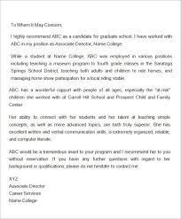 sample recommendation letter for scholarship from employer letter of recommendation for graduate school from employer g