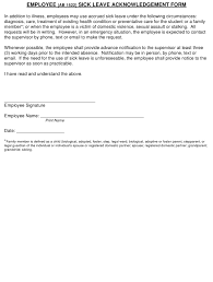 Employee Acknowledgement Form Template Employee Sick Leave Acknowledgement Form Download Fillable